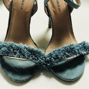 Shoe Republic LA women's heels Sz 8M open toe blue